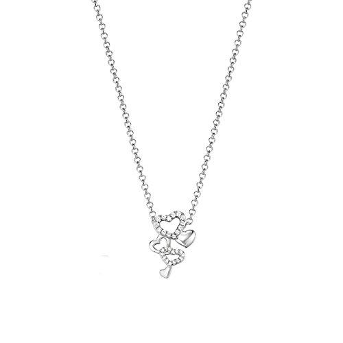 ESPRIT Damen Halskette 925 Sterling Silber Zirkonia Pile ESNL92978A420