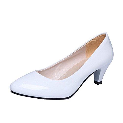 Chaussures à Talons Bas, GreatestAPK Femme Nude Shallow Mouth Office Talons de Travail Élégant (39 EU, Blanc)
