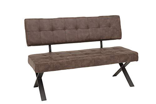 Sitzbank DonnaI mit Lehne, Bezug Softex Vintageoptik Braun, X-Metallgestell Anthrazit, 140x61x93 cm
