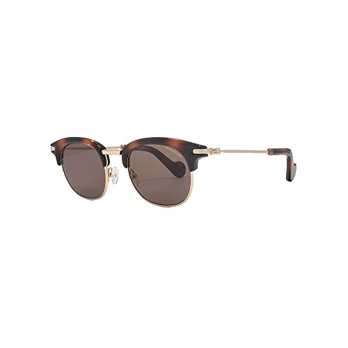 MONCLER Unisex Adults' ML0036 52J 49 Sunglasses, Brown (Avana Scura/Roviex)