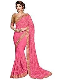 Aarti Apparels Chiffon Saree With Blouse Piece (Priyankaudan1605_Pink_Free Size)