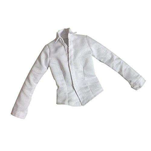Sharplace 12 Zoll Weibliche Actionfigur Bekleidung - Weißes langärmelig Shirt Hemd