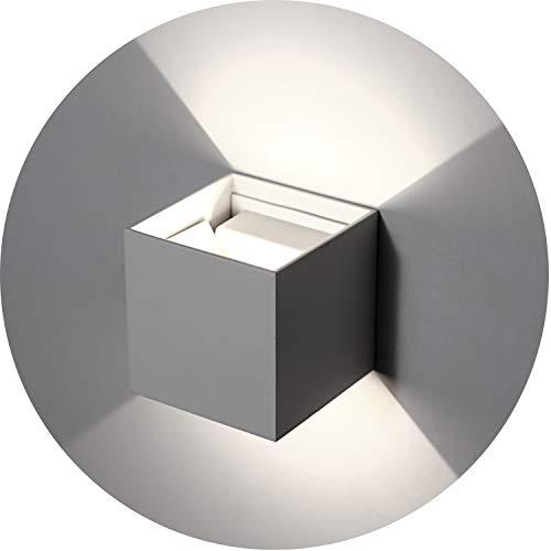 Topmo-plus 12w lampada da parete a led con angolo regolabile/applique a led per esterni/interni impermeabile ip65 / puri cob/illuminazione a parete quadrato 10cm (grigio/bianco natural)