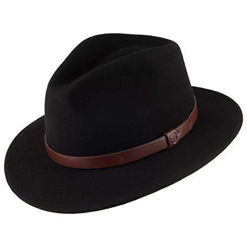 Chapeau Fedora Messer noir à Bandeau marron BRIXTON - Large - 60cm