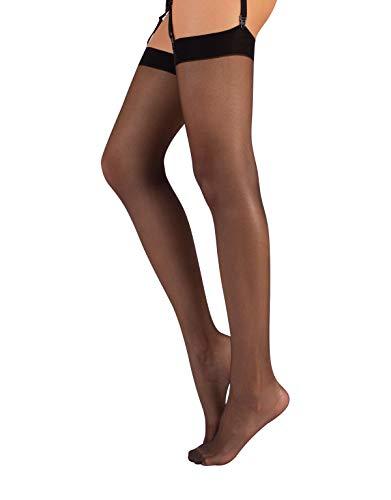 Calze per reggicalze | sexy parigina calza | nero & natural | s m l | 15den | (3/4 - m/l, nero)