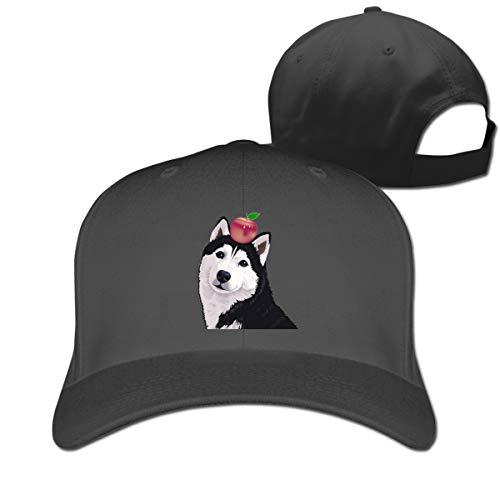 Apple Cotton Cap (Osmykqe Husky Apple 74 Adjustable Baseball Cap Washed Cotton Plain Hat Fits Men Women)