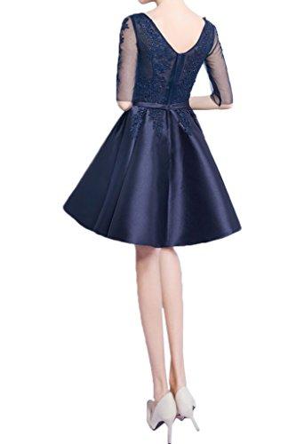 Ivydressing Damen Beliebt Halb Aermel V-Ausschnitt Kurz Spitze&Satin Partykleid Promkleid Festkleid Abendkleid Dunkelblau