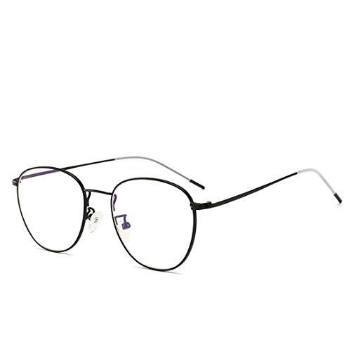 Jiuyizhe Mode Anti-Blue Metall Glas Anti-Strahlung Brille Anti-Blaulicht Brille für Frauen Männer (Color : Black)