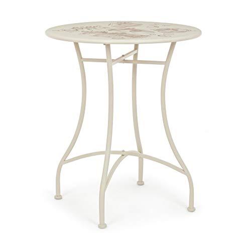 ARREDinITALY Table bistrot Ronde de 60 cm en métal avec Plateau décoré écru