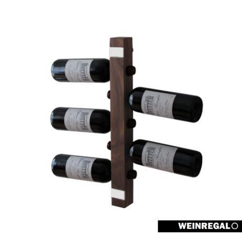 WEINREGALO Mini - Nussbaum | Das Moderne Design Weinregal/Flaschenregal aus Holz für Ihre Wand (Flaschenregal für 5 Weinflaschen, 52 x 5 x 5 cm, dekorativ für Wohnzimmer oder Küche)