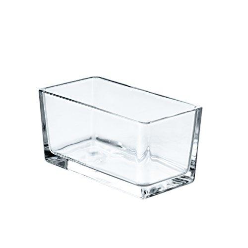 INNA Glas - Rechteckiges Windlicht HUGO aus Klarglas, 15,5 x 8 x 8 cm - Teelicht Glas / kleine Pflanzschale