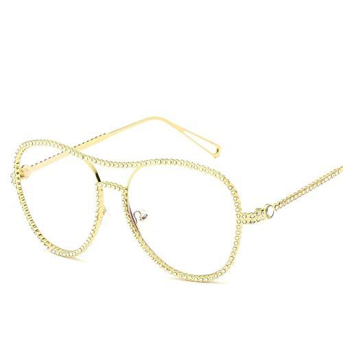 MJDABAOFA Sonnenbrillen,Neue Blink Oval Glatte Gläser Gold Rahmen Transparent Linse Mode Mit Großem Rahmen Elegance Lady Spiegel Plain Gläser Strahlenschutz Gläser Uv 400