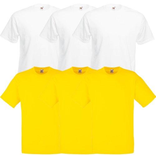 Fruit of the Loom Original Valueweight T Rundhals T-Shirt F140 3er 6er 9er 12er Pack 3x white 3x yellow