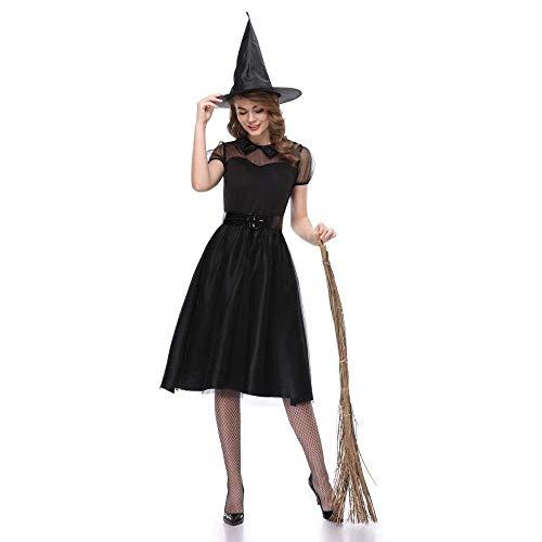 Fashion-Cos1 Frauen Halloween Hexe Kostüm Zauberer der bösen Magie schwarzen Hut Set Cosplay Party Gothic Kleid für Damen (Size : M)
