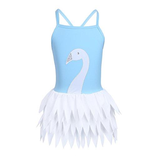 CHICTRY Mädchen Einteiler Badeanzug Schwan Muster 1PC Bikini Bademode Schwimmanzug mit Rock Gr. 98 104 116 128 140 152 Himmelblau 140