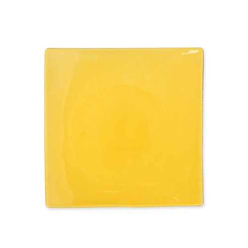 Bruno Evrard Assiette Dessert Jaune en céramique 21x21cm - Lot de 6 - MATINE
