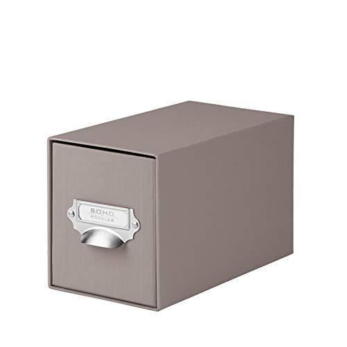 Rössler 1327452490 - S.O.H.O. Aufbewahrungs CD-Schubladenbox, mit beschriftbarem Einsteckschild und Griff, taupe