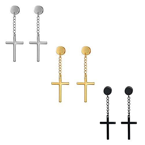 Cupimatch Unisex Piercing Ohrringe mit Kreuz Anhänger Kette Ohrstecker Mode Schmuck für Damen Herren, Silber Gold Schwarz