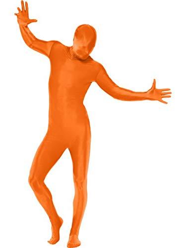 Luxuspiraten - Herren Männer Kostüm Ganzkörperanzug mit Bauchtasche, verdecktem Hosenschlitz und Öffnung unter dem Kinn, perfekt für Karneval, Fasching und Fastnacht, L, Orange (Herren Orange Zweite Haut Für Erwachsene Kostüm)