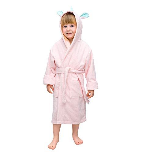 Albornoz de baño niño y niña Unicornio - Talla 5-6 Años 110-116 cm - Sin Productos Químicos OEKO...