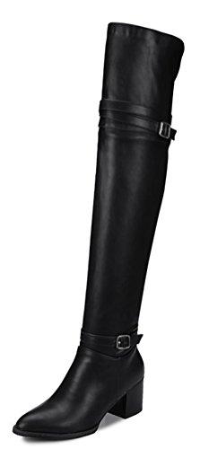 Easemax Damen Elegant Langschaft Spitze Zehe Overknee Riemen Blockabsatz Stiefel Schwarz 35 EU