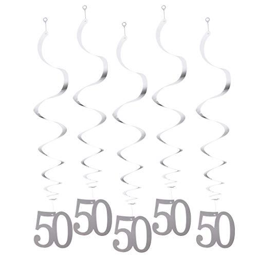 Fenteer 12x Folienspiralen Spirale Girlande Dekospiralen mit Zahlen Anhänger für Decke Wand Kamins und Baum - 50 - Papier-decke-anhänger