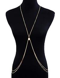 LUREME Bikini Crossover Cintura Cuerpo Cadena con Turquesa Doble Capa Collar de Cadena del Vientre (bc000042)