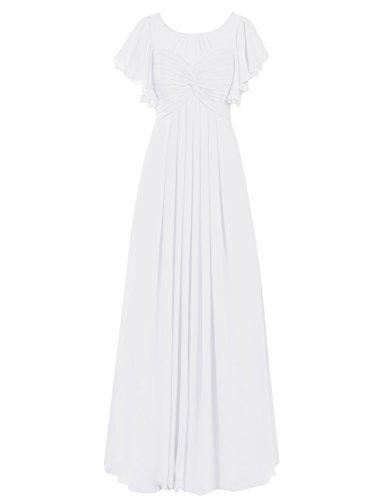 Dresstells Robe de demoiselle d'honneur Robe de cérémonie en mousseline forme empire longueur ras du sol Blanc