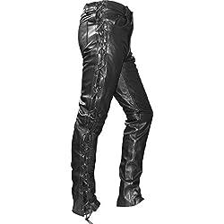 German Wear Pantalones moteros de cuerpo con lazado lateral negro negro 48 (EU)