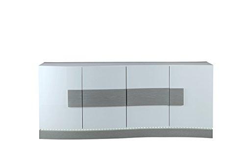 Credenza Con Led : Mobile credenza bianco e grigio con led 4 ante design moderno