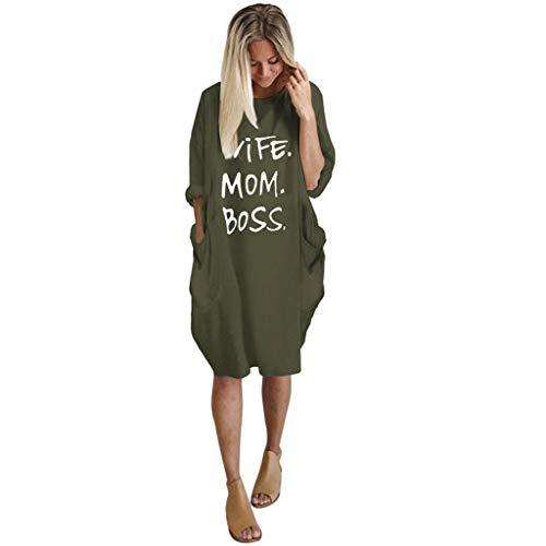 MakefortuneWomens Pocket Loose Dress, Damen Rundhalsausschnitt Beiläufige Lange Oberteile \'Wife MOM BOSS\' Letter Print Stilvolles Kleid in Übergröße