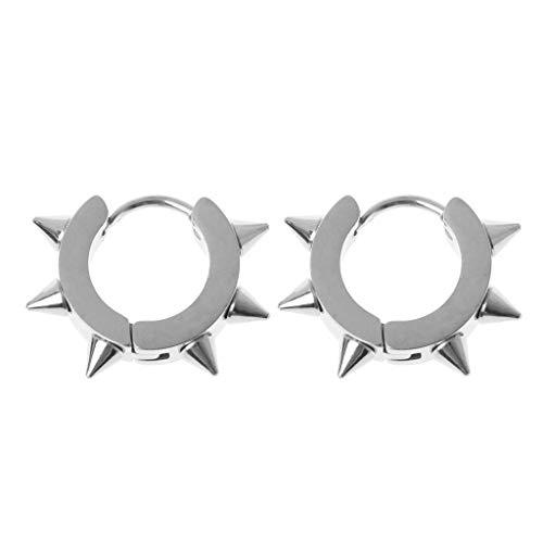 1 Paar Edelstahl Niet Huggie Ohrringe Hoop Spike Piercing Punk Schmuck Silber ()