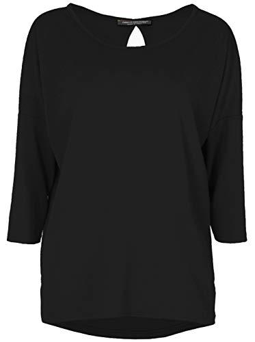 Emma & Giovanni - T-Shirt/Bluse 3/4 Ärmel für alle Jahreszeiten, Loose Fit - Damen (Schwarz, L/XL)