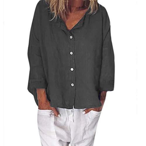 Zolimx Damen Leinenblusen,Frauen Casual V-Ausschnitt Plus Size Button Solide Leinen Lose Tägliche Bluse Shirt Tops -