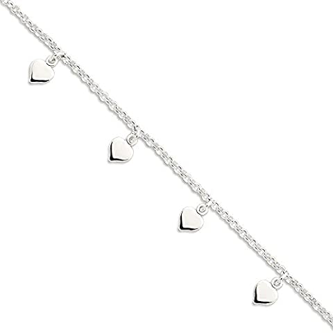 IceCarats 925 Sterling Silver Hearts Anklet For Women Ankle Beach Chain Bracelet Key