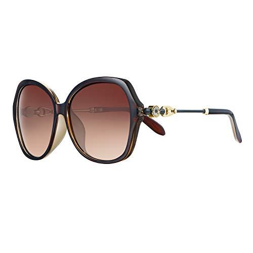 WHCREAT Damen Klassisch Übergröße Polarisierte Sonnenbrille mit Mode Strass Dekoration (Tee Rahmen - Tee Linse)