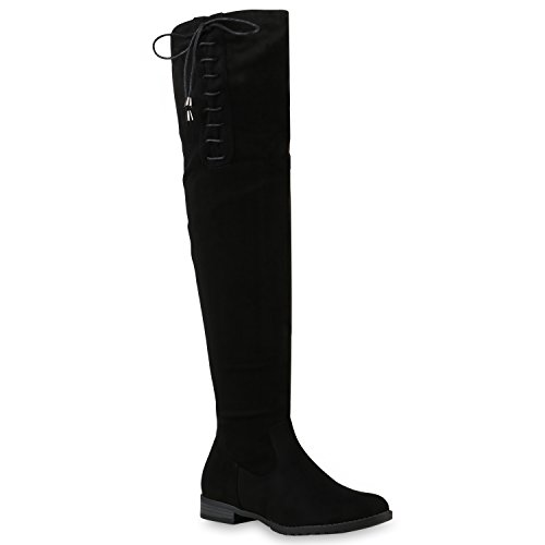 Basic Damen Overknees Schleifen Stiefel Samt Flach Langschaftstiefel Overknee Boots Schuhe 128530 Schwarz mit Schleifen 38 Flandell