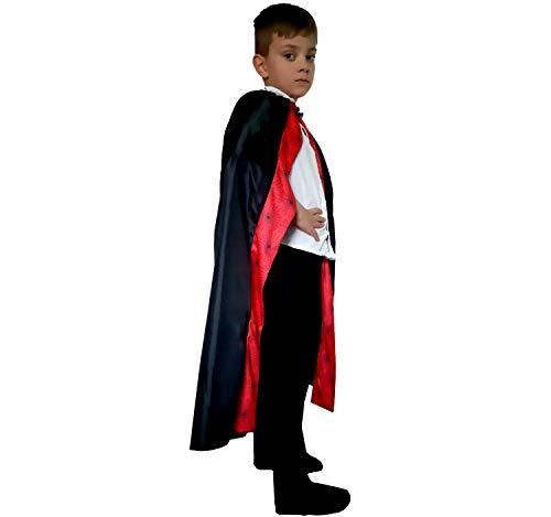 Krause & Sohn Kinder Umhang Halloween mit Spinnennetz schwarz Fasching Karneval Mantel Teufel Vampir