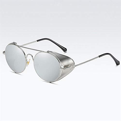 Gy-hhhh occhiali da sole rotondi steampunk - occhiali da sole retrò in metallo di lusso - protezioni laterali per uomo/donna lenti trasparenti occhiali-grigio