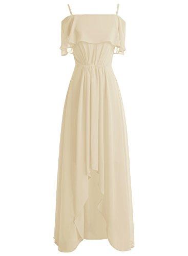 Bbonlinedress Robe de cérémonie et de demoiselle d'honneur asymétrique épaule dénudée bretelle spaghetti longueur ras du sol en mousseline Champagne