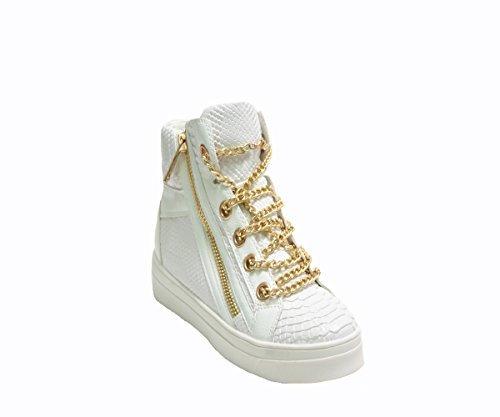 JustGlam - Scarpe donna sneakers in ecopelle pitonata con catena e platform in gomma / bianco 38
