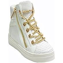 JustGlam - Zapatos de las zapatillas de deporte de cuero de imitación pitón con cadena y plataforma de goma