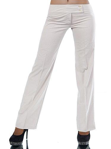 H326 Damen Business Stoffhose Elegante Bootcut Hose Classic Schlaghose Schlag, Farben:Beige;Größen:38 M (Etikett T3)