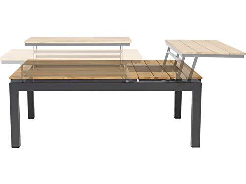 Tierra Gartentisch Flip-up, Tischplatte verstell- und teilbar, Aluminium/Teak-Holz, rechteckig, Teak/anthrazit, 120x79 cm