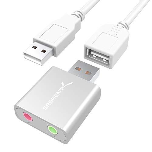 Sabrent Externe Soundkarten - USB External Aluminum Stereo Sound Adapter für Windows und Mac. Plug and play. Inkl. USB Kabel. keine Treiber erforderlich. (Silber) [C-Media CM108 Chipset] (AU-EMAC)