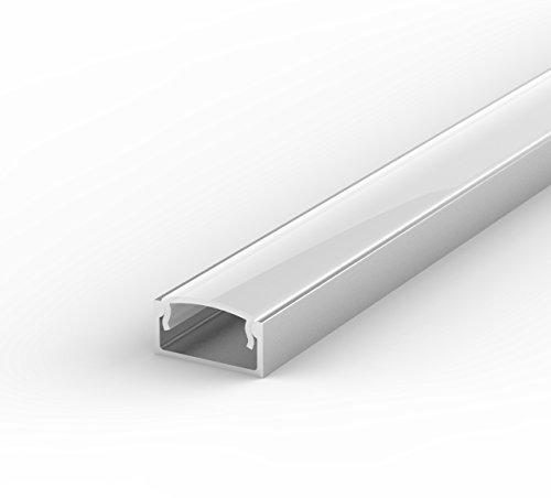 SET: LED Profil, 100cm Profil LED für LED Streifen, aluminium led profil + Abdeckung (Milchig) LT4 -
