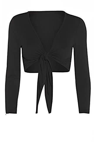 Fashion Valley Womens Tie Knot Shrug Short Ladies Crop Cardigan Wrap Bolero Top Plus Size 8-22 UK L/XL 16-18