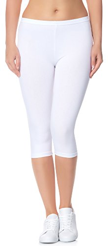 Ladeheid Damen Leggings 3/4 LAMA01 (Weiß11, S/M (Herstellergröße: 36/38))