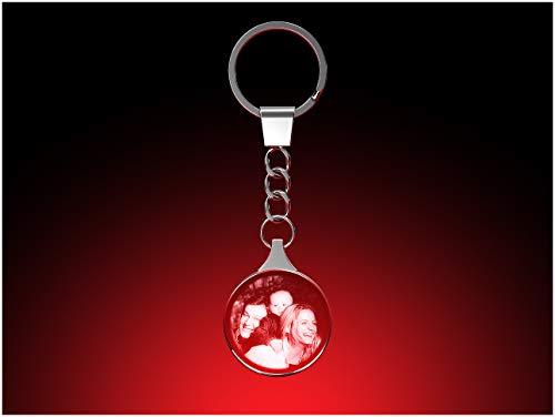 to Schlüsselanhänger rund, 30 x 30 x 5 mm, mit Ihrem eigenen Foto als individuell anpassbares Geschenk, Kristallglas Innengravur in Premiumqualität ()