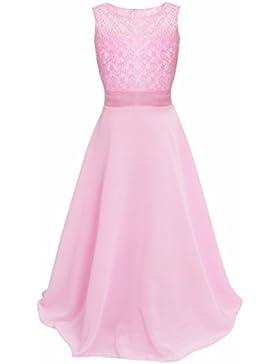iEFiEL Vestido Largo de Ceremonia Boda Largo Princesa Chica Vestidos de Encaje para Niña (4-14 Años)